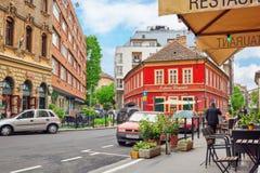 BUDAPEST HUNGARY-MAY 02,2016: Stads- sikt för härligt landskap, stad Arkivfoto