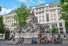 Budapest, Hungary - May 26, 2018: Statue of poet Mihaly Vorosmarty at Vorosmarty Square, a public square in the Budapest city cent. Re, Hungary royalty free stock photos
