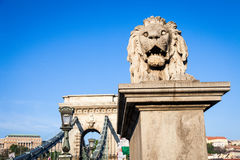 BUDAPEST, HUNGARY - 2017 MAY 19th: lion statue at the beginning Stock Photo
