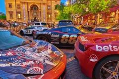 BUDAPEST HUNGARY-MAY 05,2016: Utställning av sportbilar i fron Royaltyfri Bild