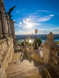 Budapest, Hungary - Morning view from the Royal Palace Buda Castle with Szechenyi Chain Bridge. And St Stephens Basilica stock photos