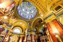 St. Stephen Basilica dome, Budapest, Hungary. Budapest, Hungary - 2nd January 2018: Dome of St. Stephen Basilica, largest church in Budapest, Hungary royalty free stock photography
