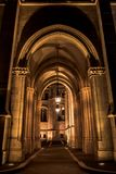 Budapest, Hungary - Night view of the arches of the Parliament with central lamps royalty free stock photo