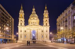 Budapest, Hungary: Night view of St. Stephen`s Basilica Cathedral Stock Images