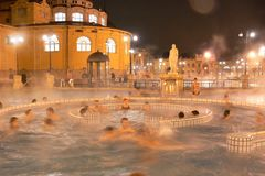 Budapest, Hungary - Nov.6.2009: Outdoor thermal pools in Szechenyi Bath stock photography