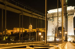 BUDAPEST, HUNGARY-November 7, 2015. BUDAPEST, HUNGARY-November 7:  Chain Bridge supporting structure with girders above the roadway in the foreground and in the Stock Photo