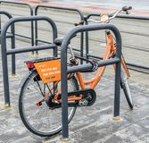 City bike rental in Budapest street. Stock Images