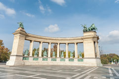 BUDAPEST, HUNGARY - OCTOBER 26, 2015: Heroes Square in Budapest, Hungary. Stock Images