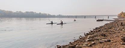 BUDAPEST, HUNGARY - OCTOBER 20, 2018: Kayaks on the Danube in Budapest, Hungary stock image
