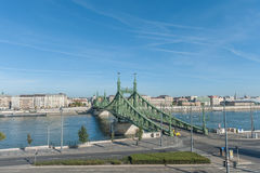 BUDAPEST, HUNGARY - OCTOBER 27, 2015: Landscape of the Bridge and Danube River in Budapest, Hungary. Moving Taxi car in Background Stock Images