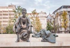 BUDAPEST, HUNGARY - OCTOBER 26, 2015: Poet Attila Jozsef statue in Budapest, Hungary, Royalty Free Stock Image