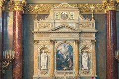 BUDAPEST, HUNGARY - OCTOBER 30, 2015: St. Stephen's Basilica in Budapest. Interior Details and altar Stock Photography