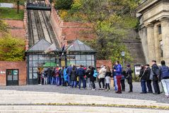 Tourists wait in line to buy tickets for the funicular. Budapest, Hungary. Royalty Free Stock Photos