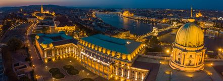 Budapest, Hungary - Panoramic aerial view of the dome of Buda Castle Royal Palace at dusk Royalty Free Stock Image