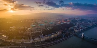 Budapest, Hungary - Panoramic aerial view of Budapest. This view includes Buda Castle Royal Palace. Matthias Churcs, Fisherman`s Bastion and Szechenyi Chain royalty free stock photo
