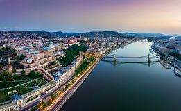 Budapest, Hungary - Panoramic aerial view of Budapest. This view includes Buda Castle Royal Palace. Matthias Churcs, Fisherman`s Bastion and Szechenyi Chain stock photography