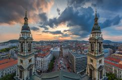 Budapest, Hungary - Panoramic skyline view of Budapest from the top of Saint Stephens Basilica. Aka Szent Istvan Bazilika at sunset with amazing sky and clouds Royalty Free Stock Images