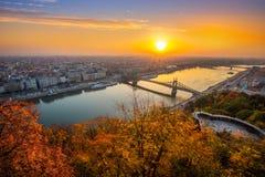 Budapest, Hungary - Panoramic skyline view of Budapest at sunrisBudapest, Hungary - Panoramic skyline view of Budapest at sunrise. Budapest, Hungary - Panoramic royalty free stock photos