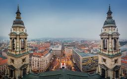 Budapest, Hungary - Panoramic skyline view of Budapest from the top of Saint Stephens Basilica. Aka Szent Istvan Bazilika at wintertime Royalty Free Stock Images