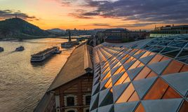 Budapest, Hungary - Panoramic view of a beautiful sunset over River Danube with Liberty Bridge, Gellert Hill