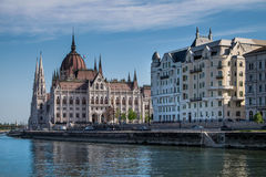 Budapest, Hungary - The Parliament and the palaces of the govern Stock Images
