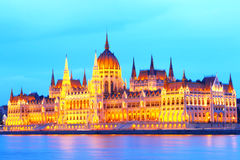 Budapest. Hungary.Parliament.Sunset over the Danube. Royalty Free Stock Photo