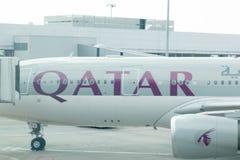 Budapest/Hungary-2.9.18 : Qatar Airways airplane airport symbole antelope stock photography