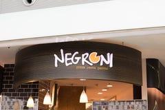 Budapest/Hungary-09 09 18: Ristorante italiano degli alimentari di panini della pasta della pizza di Negroni immagine stock