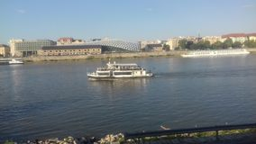 Budapest, Hungary. River and river ships with yachts Royalty Free Stock Photos