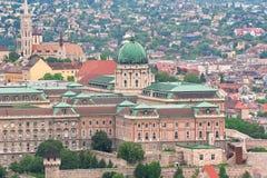 Budapest, Hungary: Royal Palace of Buda and Matthias church from Royalty Free Stock Image