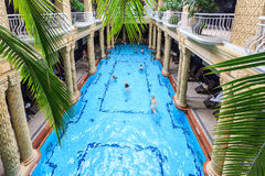 Budapest, Hungary. September 5th. 2014: Gellert Thermal Bath, traditional Hungarian thermal bath complex with spa treatments. The bath house has beautiful royalty free stock photo