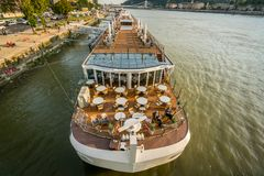Canal boat cruise ship at Danube river in Budapest. Stock Photo