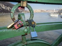 Budapest, Hungary. Set of padlocks with messages of love at the Liberty Bridge or Freedom Bridge royalty free stock images