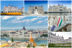 Budapest Hungary. Sightseeing collage and sky Stock Photo