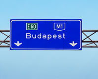 Budapest Hungary sign on the highway Stock Photo