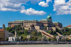 Budapest, Hungary - Skyline view of the famous Buda Castle Royal Palace on Hill on a summer day Stock Photo