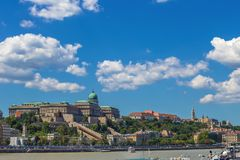 Budapest, Hungary - Skyline view of the famous Buda Castle Royal Palace on Hill on a summer day Royalty Free Stock Photography