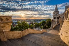 Budapest, Hungary - Staircase of the famous Fisherman Bastion on a beautiful sunny morning royalty free stock photos
