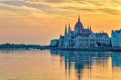 Budapest Hungary. Budapest sunrise city skyline at Hungalian Parliament and Danube River, Budapest, Hungary Royalty Free Stock Photos