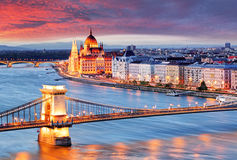 Budapest, Hungary. At a sunset Royalty Free Stock Image