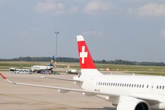 Budapest/Hungary-02.09.18 : Swiss air airline airplane airport switzerland. Swiss air airplane on the tarmac of budapest airport Stock Image