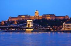 Budapest in Hungary. Szechenyi Chain Bridge and Buda Palace in Budapest, Hungary Royalty Free Stock Photos