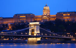 Budapest in Hungary. Szechenyi Chain Bridge and Buda Palace in Budapest, Hungary Stock Photos