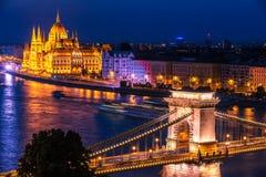 Budapest, Hungary: The Szechenyi Chain Bridge, Hungarian Parliament Building stock photography