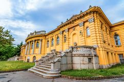 Budapest,Hungary: Szechenyi thermal Baths, spa and swimming pool stock images