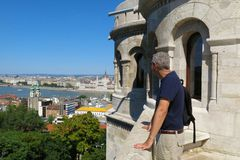 Budapest Hungary tourist atop Fisherman's Bastion royalty free stock images