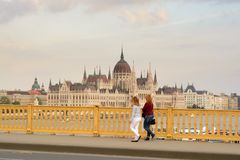 Hungarian Parliament from the bridge stock photography