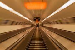 Budapest Hungary Underground Escalator Stock Photo