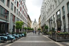 Budapest. Hungary - 15 07 2015: View of Zrinyi Utca street and Saint Stephen s Basilica stock photos