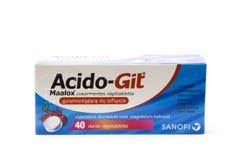Budapest, Hungría - 10 de julio de 2018: Droga de Acido Git para la CA del estómago fotografía de archivo